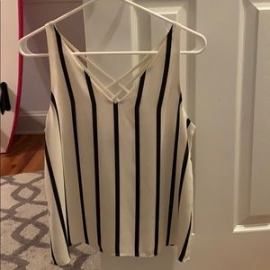 nice black and white tank top.